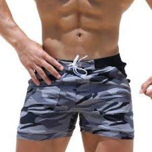 Taddlee  Mens Camo Swim Shorts With Pockets Gray